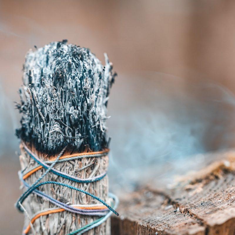burning-white-sagebrush-incense-in-a-forest-J2VPDC6-min